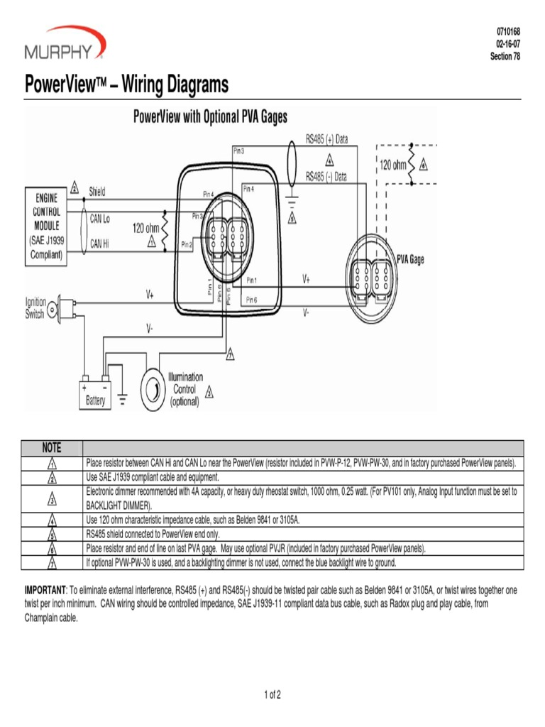 V80838 Murphy PowerView Wiring Diagrams | Resistor | Electrical Components | Murphy Power View Wiring Diagram |  | Scribd