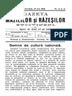 Gazeta Mazililor Şi Răzeşilor Bucovineni, An 3 (1913), Nr. 2-3 (21 Iun.)