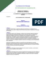 Ley de Ejercicio de La Psicologia -Gaceta Oficial N2306 Extraordinario de Fecha 11 de Septiembre de 1978