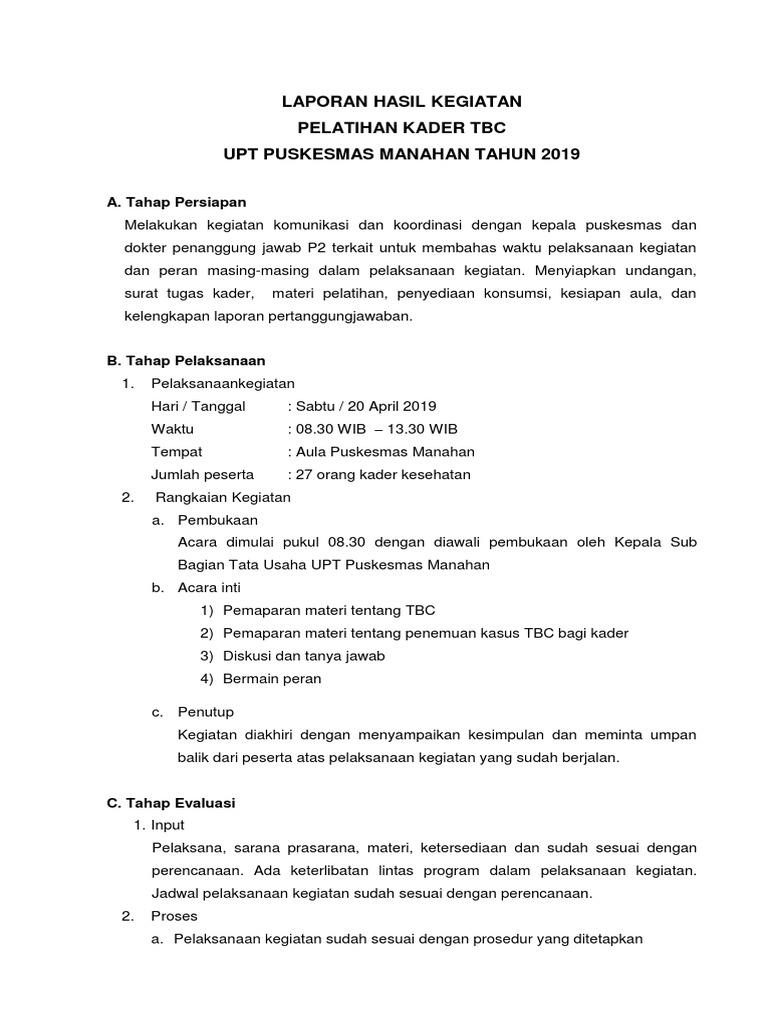 Laporan Hasil Pelatihan Kader Tbc