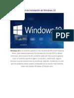 Manual de Instalación de Windows 10