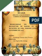 Bioseguridad Del Personal Recolector de Basura en El Municipio de Loja, Periodo Junio- Noviembre