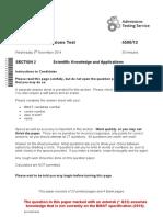 258233 Specimen Bmat 2014 Section 2 Question Paper