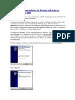 Como Crear Un Controlador de Dominio Adicional en Windows Server 2003