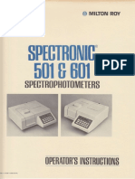 Milton Roy Spectronic SP501 601 Spectrophotometer Operator Instructions