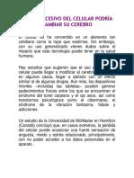 8° EL USO EXCESIVO DEL CELULAR PODRÍA CAMBIAR SU CEREBRO