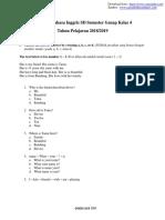 Soal UTS Bahasa Inggris SD Semester Genap Kelas 4