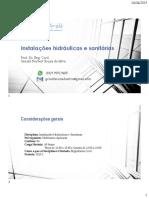 2019.1 Instalações Hidráulicas e Sanitárias - Estagio I