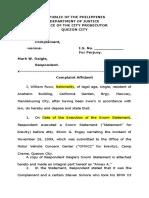 Complaint Affidavit Perjury Sample