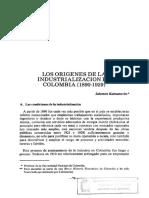 los orígenes de la industrialización en Colombia  Salomón kalmanovitz
