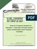 ANAIS CONGRESSO BRASILEIRO EM EDUCAÇÃO