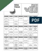 2019 Takoma Schedule