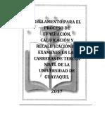 Reglamento Para El Proceso de Evaluacion, Calificacion y Recalificacion de Examanes en Las Carreras de Tercer Nivel de La Universidad de Guayaquil