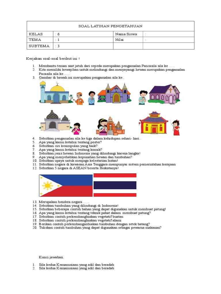 Soal Latihan Pengetahuan Kelas 6 Nama Siswa Tema 1 Nilai Subtema 3