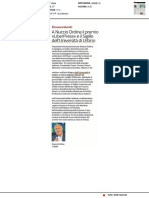 """A Nuccio Ordine il premio """"Liber Press"""" e il Sigillo dell'Università di Urbino - Il Corriere della Sera del 24 settembre 2019"""