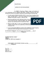 Affidavit of Non Baptism