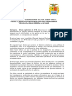 Comunicado del Gobernador de Bolívar frente a revelaciones de W-Radio