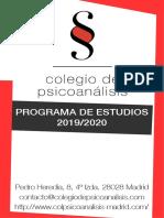 Programa de Estudios 2019-2020 - Colegio de Psicoanálisis
