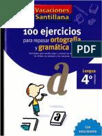 100 Ejercicios Para Repasar Ortografia y Gramatica - Santillana 4to primaria