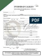 Formulario de Solicitud de Título y Graduación