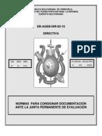 A-I-0012-AP Directiva EB-AGEB-DIR-05-10 de Fecha 20ABR10 Normas Para Consignar Documentos Ante La Junta Permanente de Evaluacion