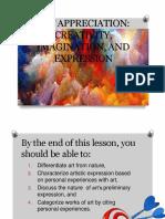 Lesson 1(Art Appreciation Creativity, Imagination, And Expression)