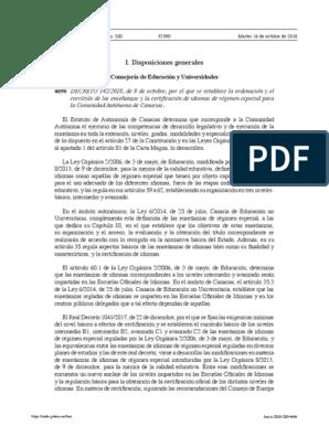 Eoi Decreto 1422018 Plan De Estudios Cognición