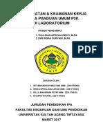 Makalah Keselamatan Dan Keamanan Kerja Serta Panduan Umum P3K Di Laboratorium