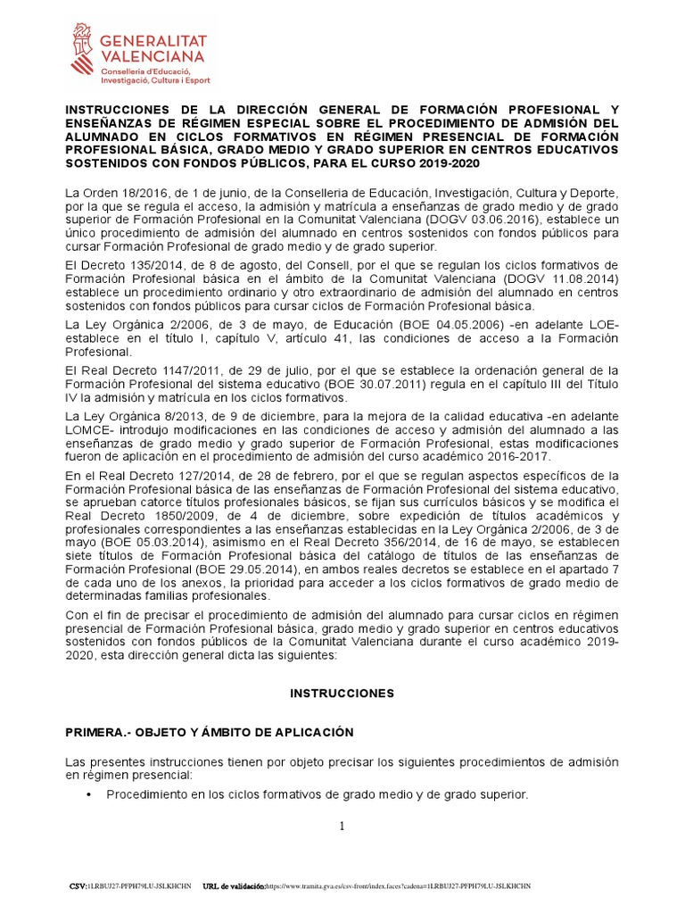 Instrucciones Admision Curs 19 20 Firmado 1 Pdf Desarrollo