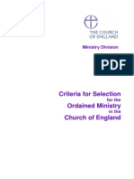 Selection Criteria for Ordained Ministry