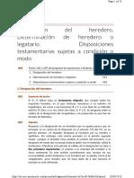 7. Designación Del Heredero. Determinación de Heredero o Legatario. Disposiciones Testamentarias Sujetas a Condición o Modo