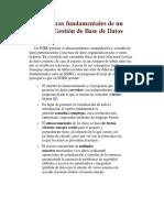 Características Fundamentales de Un Sistema de Gestión de Base de Datos