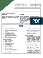 Caracterización Del Proceso Administrativa - Financiera