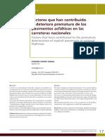 Factores Que Han Contribuido Al Deterioro Prematuro de Los Poavimentos Asfalticos en Las Carreteras Nacionales