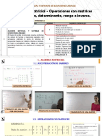 Operaciones con matrices Transpuesta, determinante, rango e inversa.
