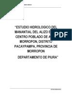 267909366 Estudio Hidrologico de Manantiales Para Agua Potable