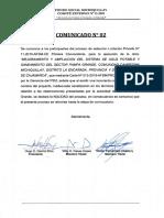 Comunicado N° 2 LP N° 011-2019-AFSM-CE Primera Convocatoria