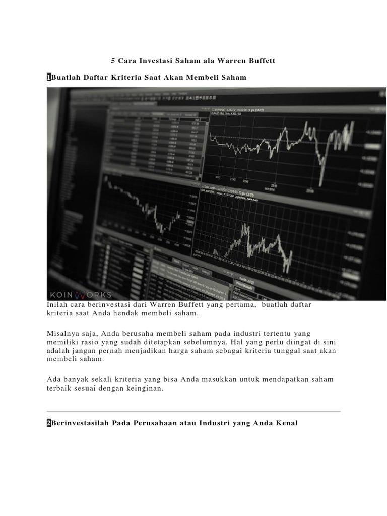 5 Cara Investasi Saham Ala Warren Buffett