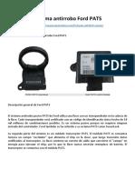 FORD PATS (Sistema Antirrobo) - Como Funciona
