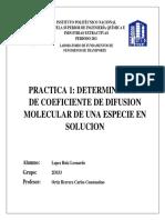Determinacion del coeficiente de difusion molecular