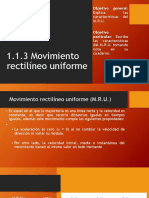 1.1.3 Movimiento Rectilíneo Uniforme