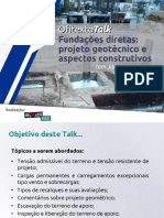 Talk Fundações Diretas Projeto Geotécnico e Aspectos Construtivos