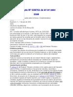 Concepto Nº 038761 de 07-07-2003. Dirección de Impuestos y Aduanas Nacionales