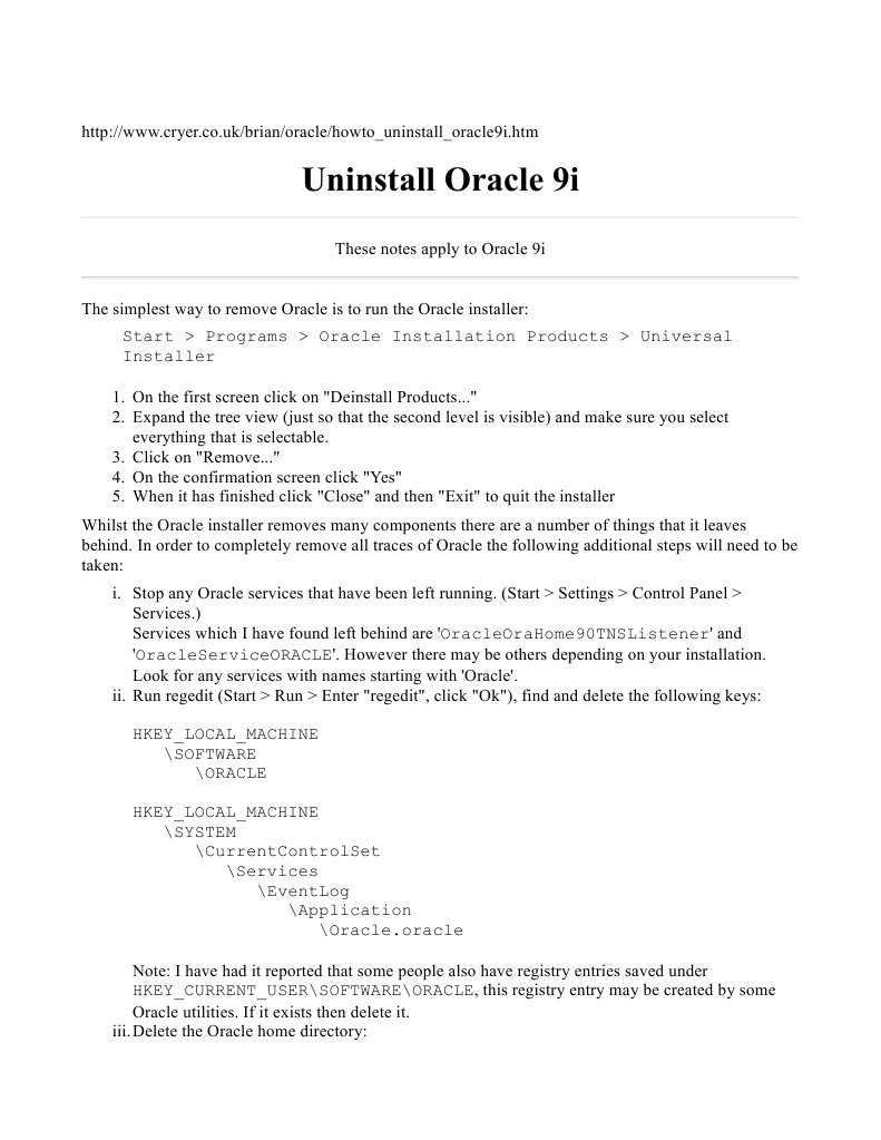 Uninstall oracle9i   Windows Registry   Computer Architecture