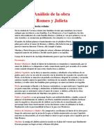 Análisis de La Obra Romeo y Julieta