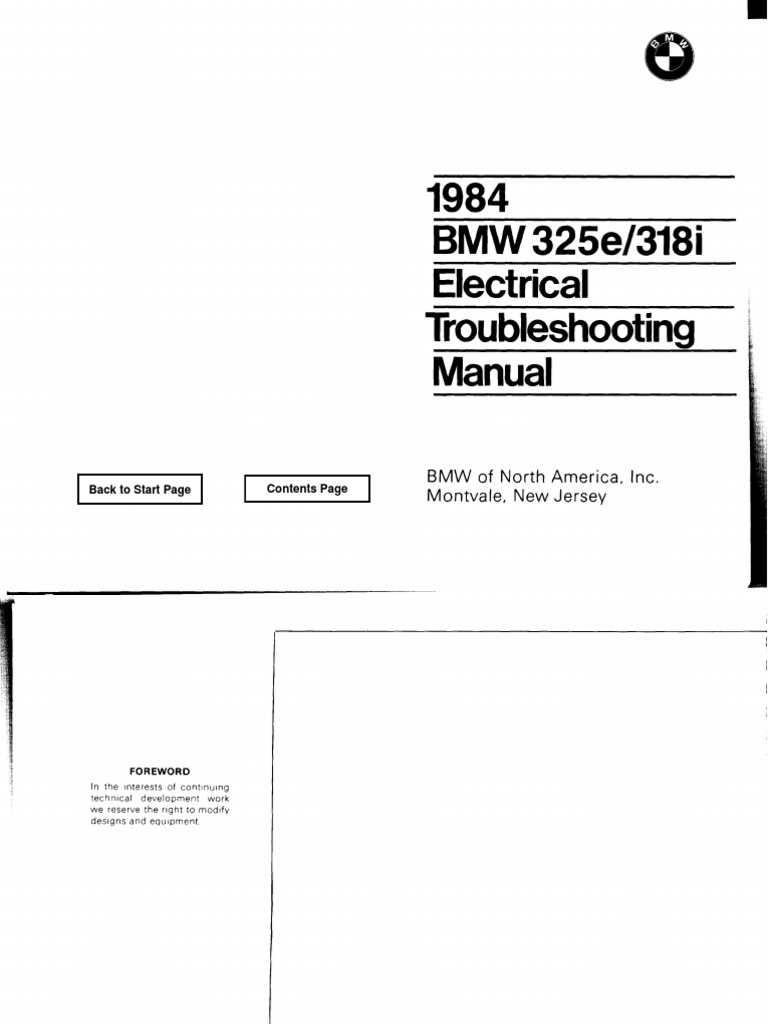 BMW 1984 E30 Electrical Troubleshooting Manual