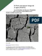 Las Zonas de Perú Con Mayor Riesgo de Quedarse Sin Agua