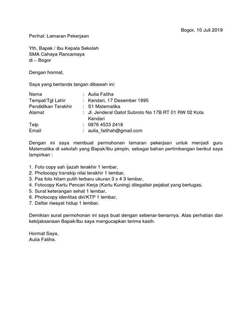 5 Contoh Surat Lamaran Kerja Guru Sma Atas Inisiatif Sendiri Docx