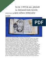 O carte veche de 1.000 de ani răstoarnă toate teoriile istorice despre cultura strămoşilor noştri