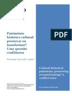 Patrimônio Cultural Uma Relação Conflituosa